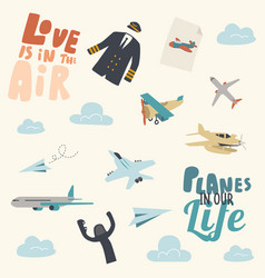 set various airplanes creative ornament vector image