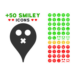 Silence smiley map marker icon with bonus emotion vector