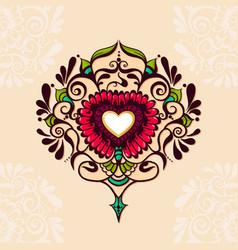 Sketch of tattoo henna heart vector