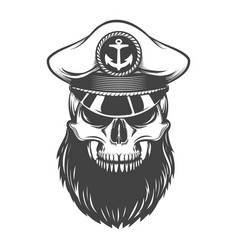 skull with beard in captain hat vector image