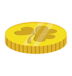 st patricks day coin treasure with clover vector image