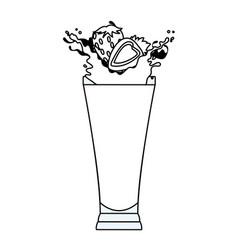 strawberries splashing refreshment drink cartoon vector image
