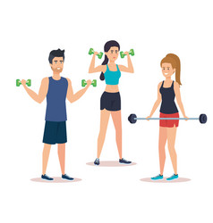 strong people lifting weight vector image