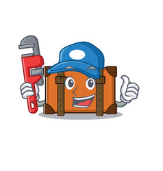 Suitcase with in cartoon plumber shape vector