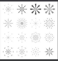 sunburst lineart sun radiant icons design set vector image