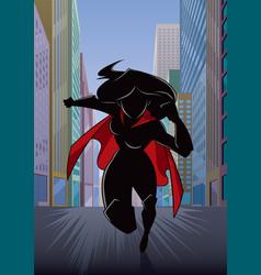 Superheroine running in city silhouette vector