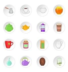 Tea and coffee icons cartoon style vector image