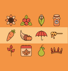 thanksgiving day autumn season celebration icons vector image