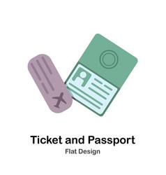 Ticket and passport flat vector