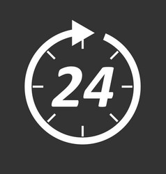 time icon flat 24 hours on black background vector image