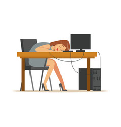 Tired businesswoman sleeping at workplace on vector