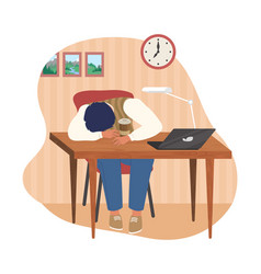 tired office worker sleeping at desk flat vector image