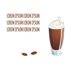 Transparent glass cup with coffee drink and beans vector