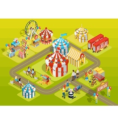 Travel circus fairground isometric layout poster vector