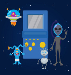 ufo game cartoon characters and spaceships with vector image