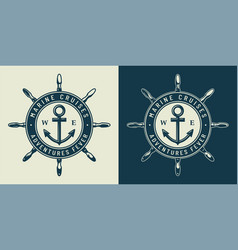 vintage monochrome nautical logo vector image