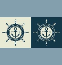 Vintage monochrome nautical logo vector