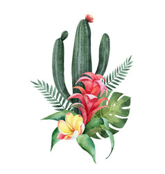 Watercolor composition tropical flowers and vector