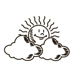 Weather icon sun with cloud design vector