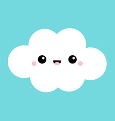 white cloud icon smiling face tongue fluffy vector image