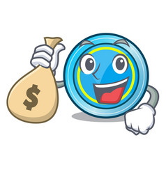 With money bag frisbee in the shape a mascot vector