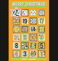 Yellow cartoon advent calendar vector