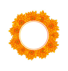 yellow chrysanthemum banner wreath vector image