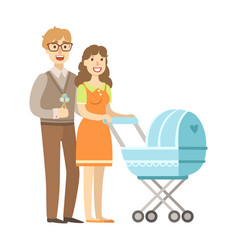 young parents walking with a stroller vector image