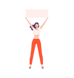 Young woman holding blank poster over her head vector