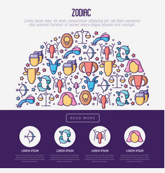 zodiac signs concept in half circle vector image