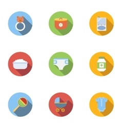 Baby supplies icons set flat style vector image vector image
