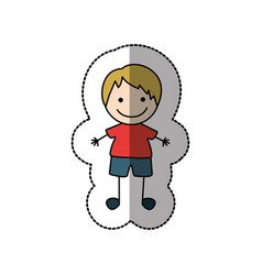 boy happy with blonde hair icon vector image