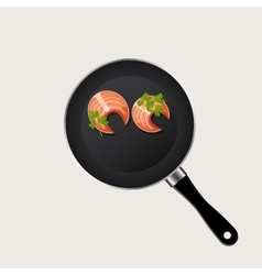 fish in a pan vector image vector image