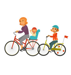 mother together with children ride bicycles vector image