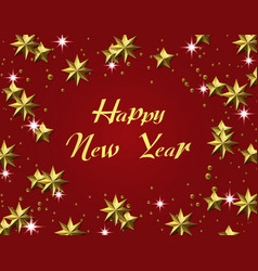 new year christmas gold leaf inscription stars vector image