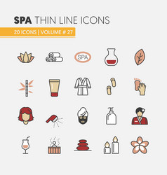 beauty and spa linear thin line icons set vector image vector image
