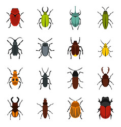 bugs set flat icons vector image