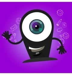 camera webcam big eyes character cartoon smile vector image vector image