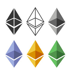 ethereum coin sign set crypto currency icon vector image