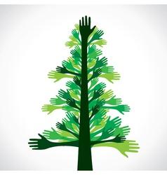 green hand tree vector image vector image