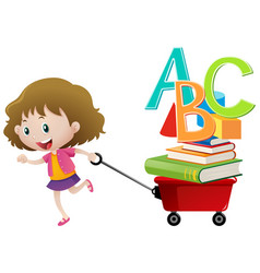 little girl pulling red wagon vector image