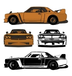 Old sports car set vector image vector image