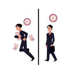 businessman manager in business suit hurrying vector image