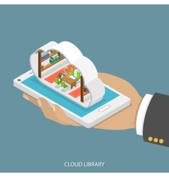 Cloud library flat isometric concept vector image vector image