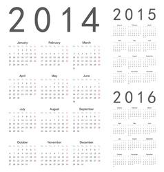 European 2014 2015 2016 year calendars vector image vector image