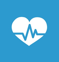 heart pulse icon white on the blue background vector image