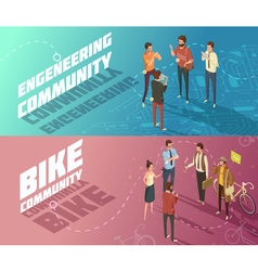 People Banners Set vector image vector image