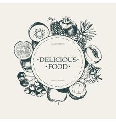 Round Fruit Frame - hand drawn design vector image