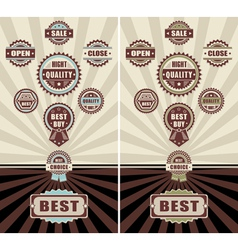 Set Badges quality open close and sale vector image vector image
