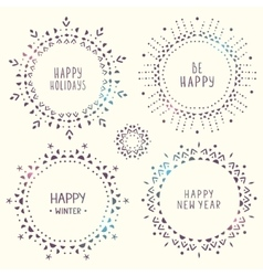 set of amazing snowflakes vector image vector image
